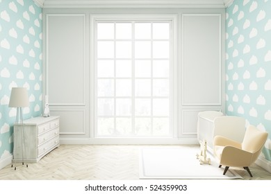 Child's room with a vertical framed poster, a cradle, an armchair and a toy horse. There is a large window and light blue cloud wallpaper. 3d rendering. Mock up