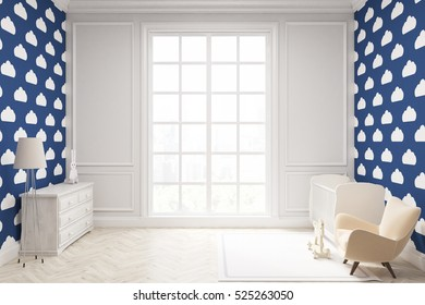 Child's room with a vertical framed poster, a cradle, an armchair and a toy horse. There is a large window and blue cloud wallpaper. 3d rendering. Mock up