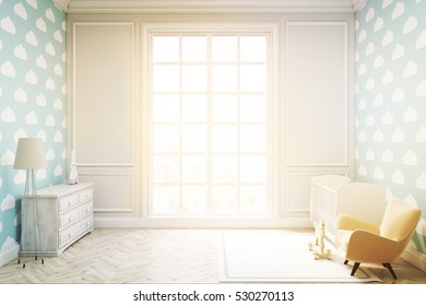 Child's room with a vertical framed poster, a cradle, an armchair and a toy horse. There is a large window and light blue cloud wallpaper. 3d rendering. Mock up. Toned image
