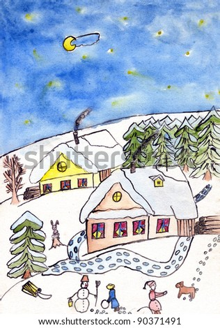 Childs Watercolor Drawing New Years Eve Stock Illustration 90371491