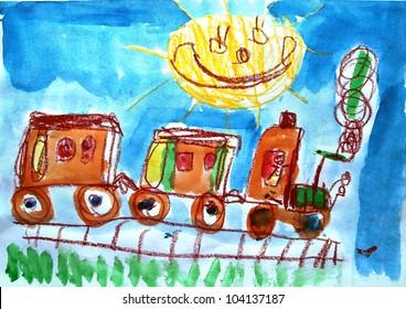 Child's watercolor picture of train and sun.