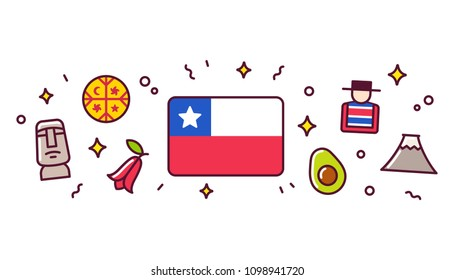 Chile banner design elements. Chilean flag surrounded with traditional signs and symbols. Clip art illustration, cute cartoon style.