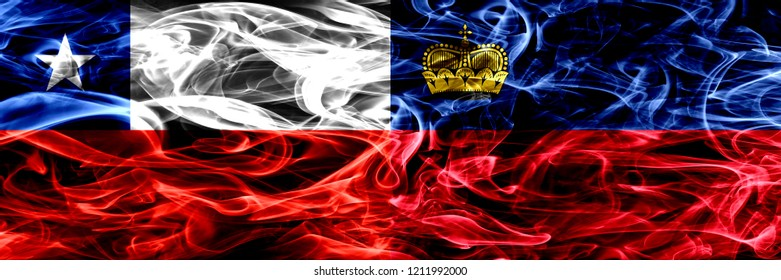 Chile, Chilean vs Liechtenstein, Liechtensteins smoke flags placed side by side. Concept and idea flags mix