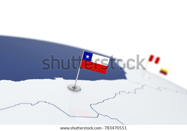 Chile flag. Country flag with chrome flagpole on the world map with neighbors countries borders. 3d illustration rendering flag