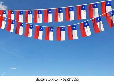 Chile flag festive bunting against a blue sky background. 3D Rendering