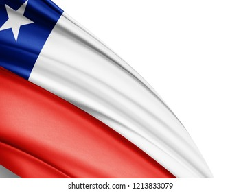 Chile   flag of silk with copyspace for your text or images and white background