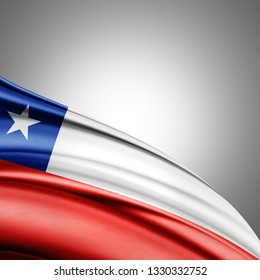 Chile flag of silk with copyspace for your text or images and white background-3D illustration