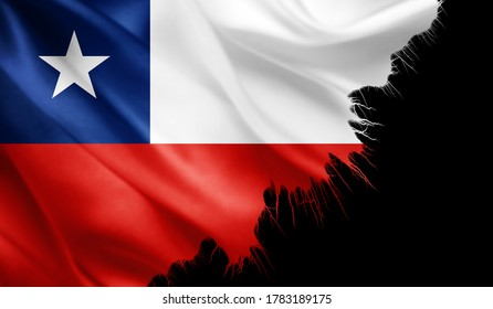 Chile flag of silk with ripped edges -3D illustration