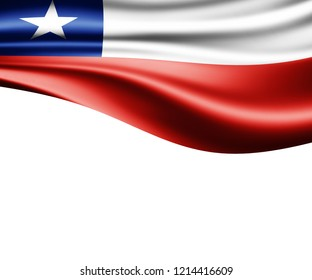 Chile flag of silk and white background-3D illustration