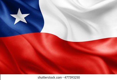 Chile flag of silk-3D illustration