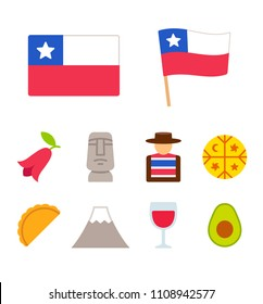 Chile icons set in flat cartoon style. Traditional Chilean culture symbols, isolated illustration.