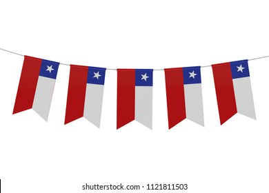 Chile national flag festive bunting against a plain white background. 3D Rendering