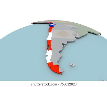 Chile with national flag on political globe. 3D illustration.