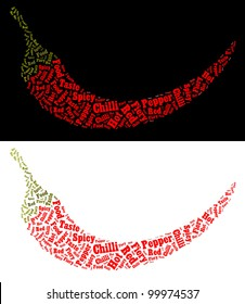 Chilli text graphic illustration. Words arrangement. Food concept. Isolated on white and black  very big file.