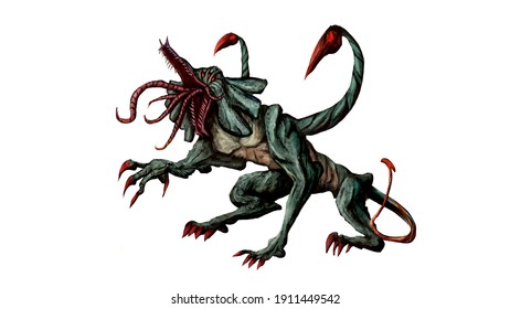 Chimera character concept. a monster with a scorpion sting stands in a threatening pose, he has green skin, sharp claws on his paws. he has an open mouth with many tongues sticking out of his mouth