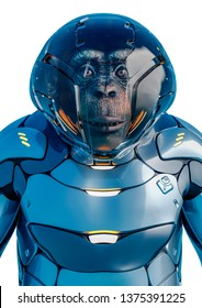 chimpanzee astronaut portrait in a white background will put some fun at yours creations, 3d illustration