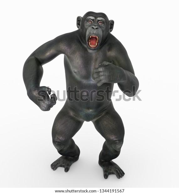 Chimpanzee Attack Computer Generated 3d Illustration Stock