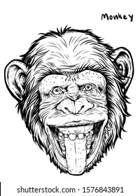 chimpanzee face hand draw on white background