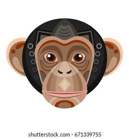 Chimpanzee Head Logo. Monkey  decorative Emblem.