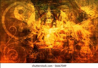 China Abstract Art Buddha as a Background