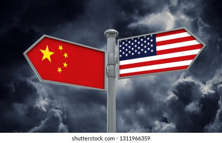 China and America flag moving in different direction. 3D Rendering