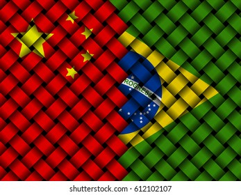 China Brazil interwoven flags 3d illustration