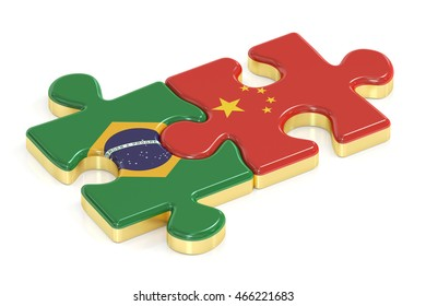 China and Brazil puzzles from flags, 3D rendering