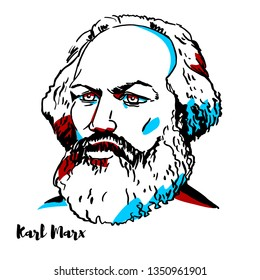 CHINA, CHENGHAI - February, 21, 2019: Karl Marx engraved portrait with ink contours. German philosopher, economist, historian, sociologist, political theorist, journalist and socialist revolutionary.
