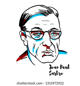 CHINA, CHENGHAI - January, 29, 2019: Jean-Paul Sartre engraved portrait with ink contours. French philosopher, playwright, novelist, political activist, biographer, and literary critic.