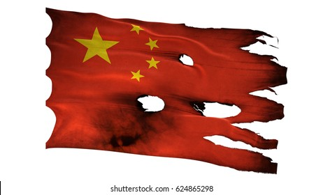 China CN People's Republic Chinese flag bullet perforated burned grunge tattered waving isolated on white background 3d illustration