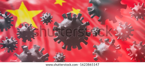 China coronavirus cells, epidemic pandemic flu virus infection, asian flu concept, chinese flag background. 3d illustration
