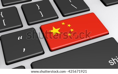 China digitalization and use of digital technologies concept with the Chinese flag on a computer key 3D illustration.
