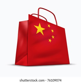 China economy and Asia investment trade symbol isolated on white.