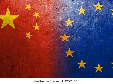 China and European Union flags on the grunge metal background