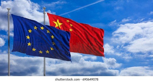 China and European Union waving flags on blue sky background . 3d illustration