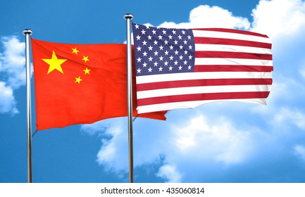 China flag, 3D rendering