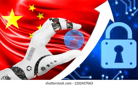 China flag along with a blue cryptogram and an up arrow with a lock. This concept shows an increased level of cyber security of cryptocurrencies and blockchain wallets.