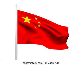 China flag floating in the wind with a White sky background. 3D illustration.