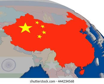 World map highlight us china flag stock photo edit now 142502 china with flag highlighted on model of globe 3d illustration gumiabroncs Choice Image