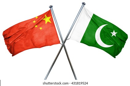 China flag with Pakistan flag, 3D rendering