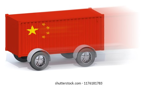 China Flag Shipping Container with wheels, 3d illustration