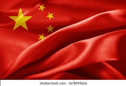 Chinesische Seidenflagge - 3D-Illustration