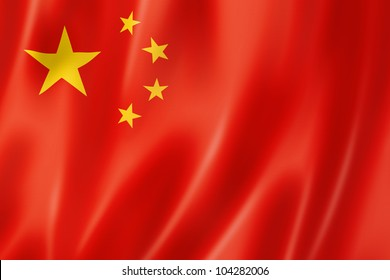 China flag, three dimensional render, satin texture
