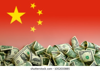 China flag with US Dollars