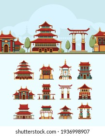 China houses. Traditional east buildings beautiful roof japan architectural objects flat illustrations