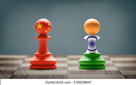 China and India conflict. Country flags on chess pawns on a chess board. 3D illustration.