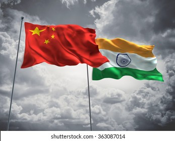 China & India Flags are waving in the sky with dark clouds