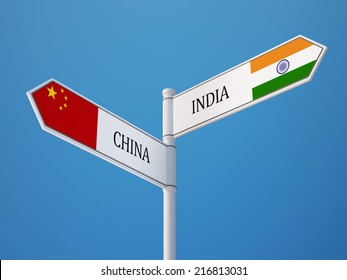 China India High Resolution Sign Flags Concept
