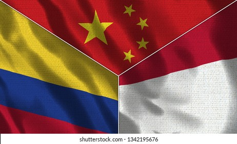 China and Indonesia and Colombia Realistic Three Flags Together - 3D illustration Fabric Texture