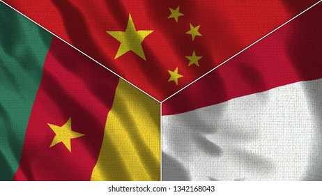 China and Indonesia and Senegal Realistic Three Flags Together - 3D illustration Fabric Texture